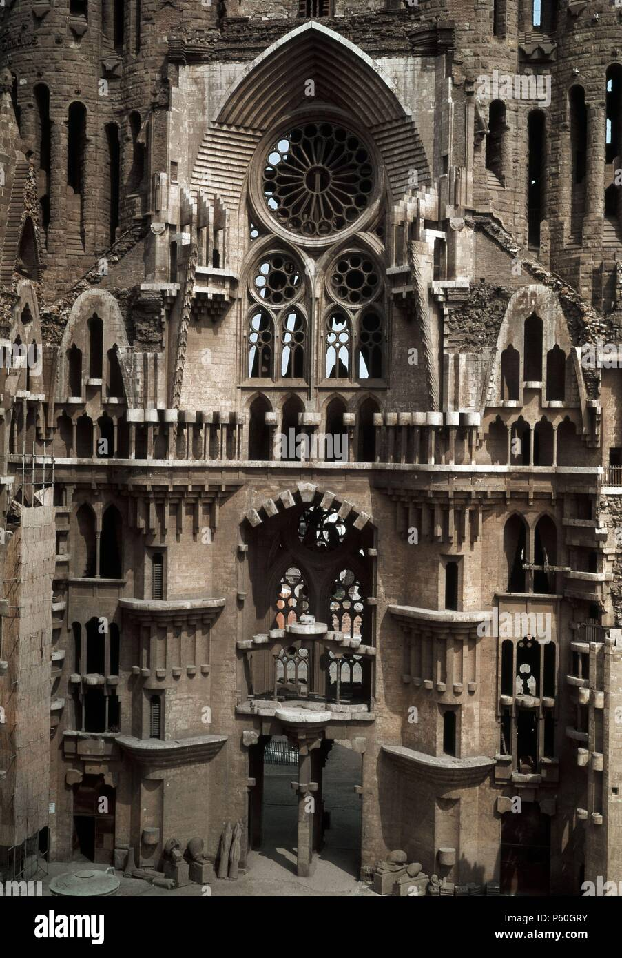 EXTERIOR. Author: Antoni Gaudí (1852-1926). Location: SAGRADA FAMILIA, SPAIN. - Stock Image
