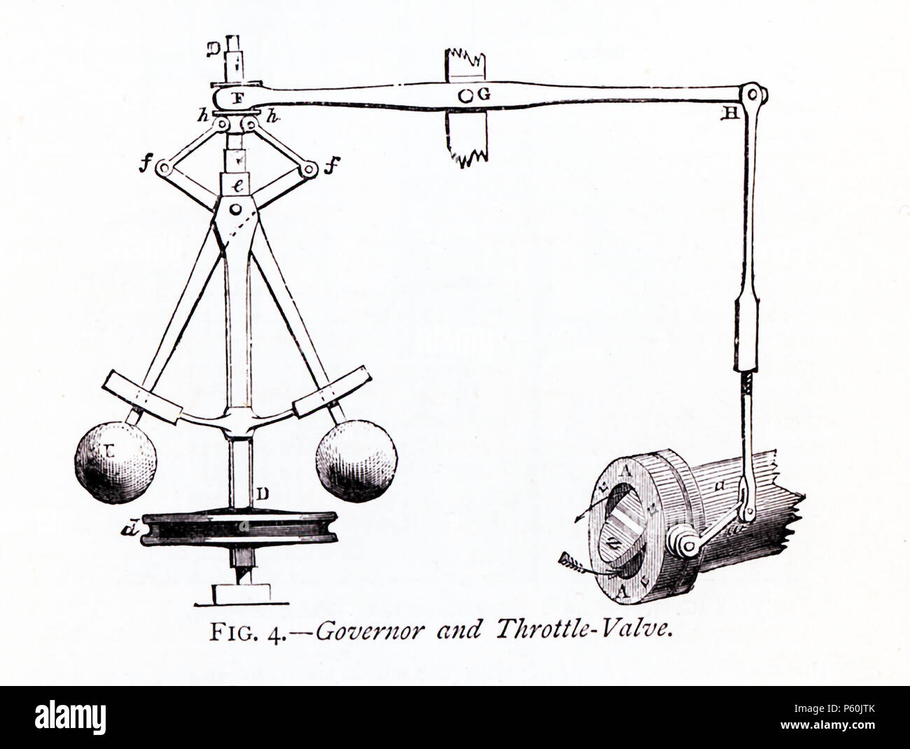 This 1870s illustration shows the governor and throttle-valve that was part of James Watt's steam engine. A Scottish inventor and mechanical engineer, James Watt (1736-1819) was said to have discovered the power of steam when he placed his hand in front of kettle that held a very hot liquid. Watt's improvements to the steam engine were key to the changes that came with the Industrial Revolution. The governor islabeled D here. The throttle valve is the piece at bottom right. - Stock Image