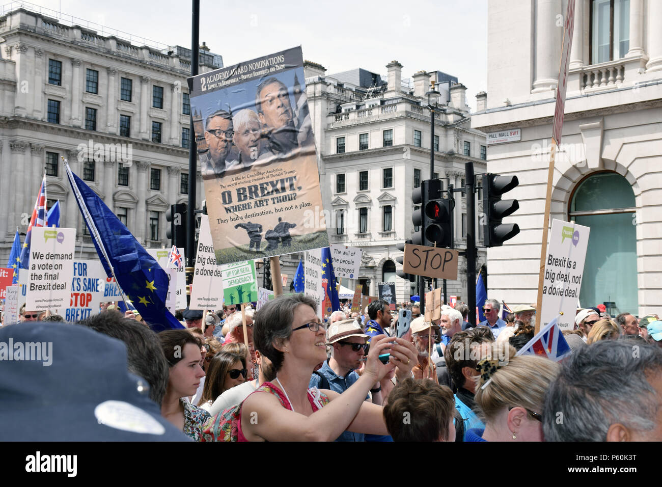 Anti Brexit demo, London 23 June 2018 UK. Campaign for a People's Vote on the final Brexit deal. - Stock Image