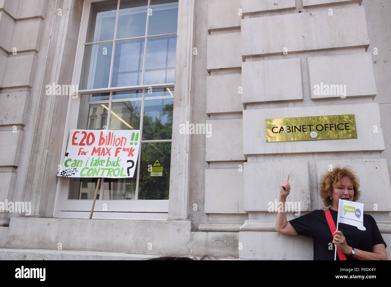 Anti Brexit demo, London 23 June 2018 UK. Campaign for a People's Vote on the final Brexit deal. Protest at the Cabinet Office at 70 Whitehall - Stock Image