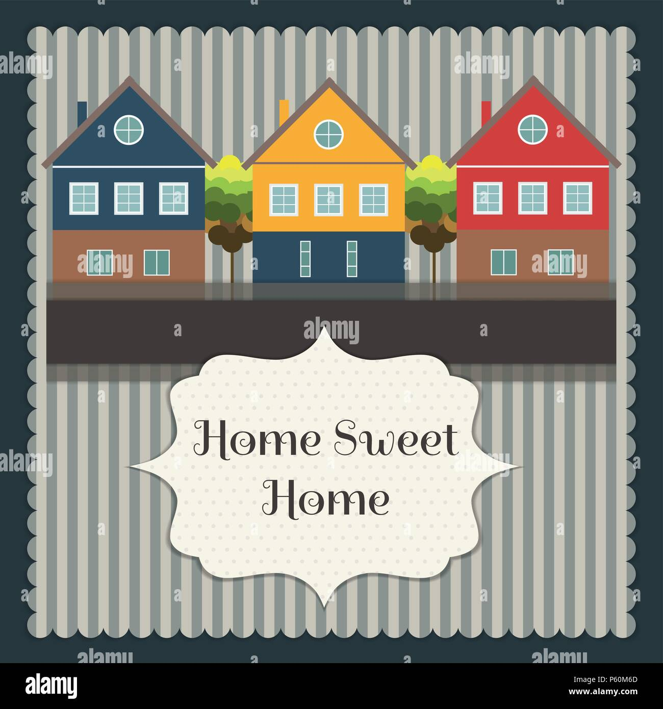 Abstdact  Real Estate Card With Colorful Houses. Home Sweet Home - Stock Vector