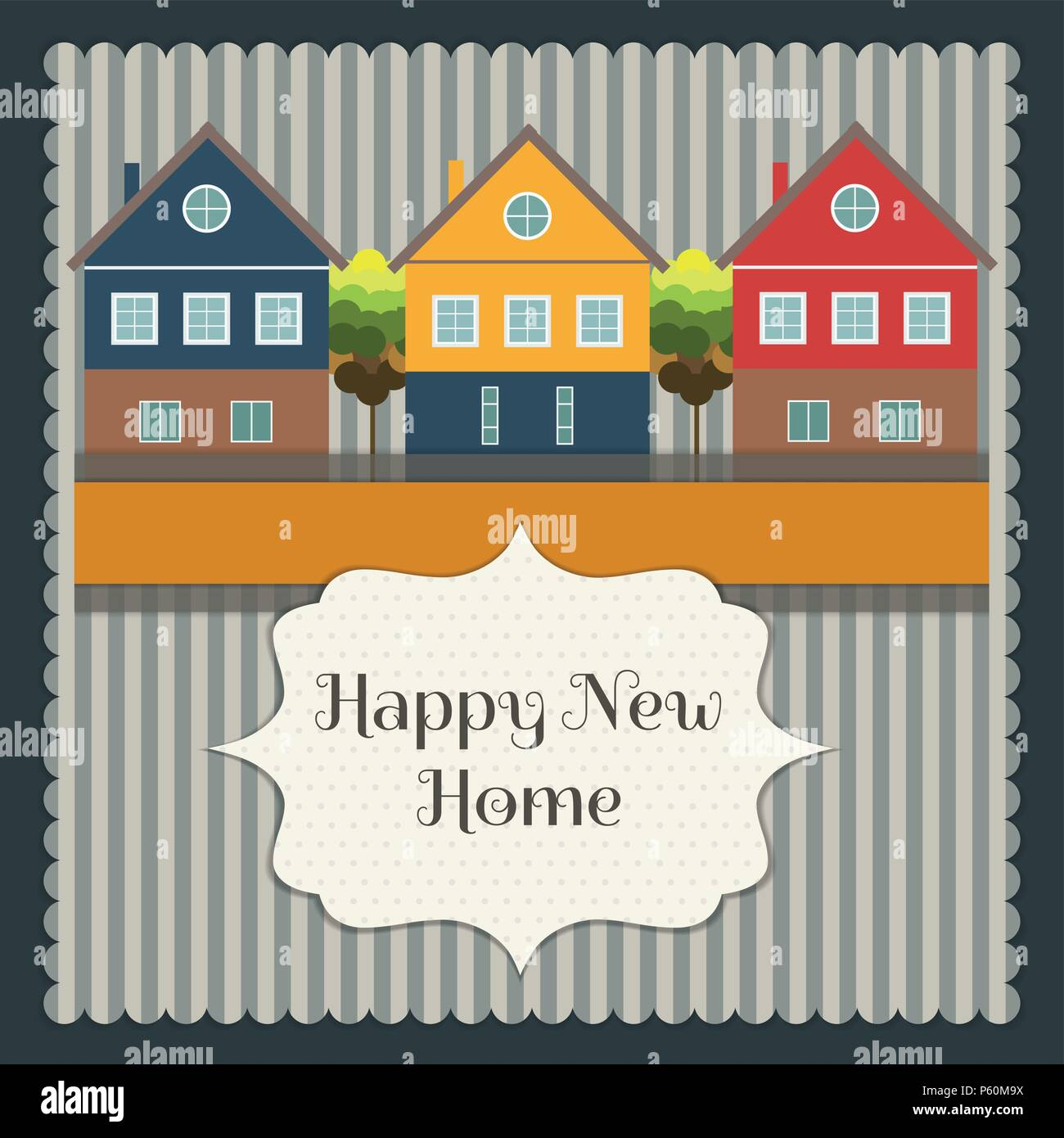Abstract Real Estate Card, Home Sweet Home Message - Stock Vector