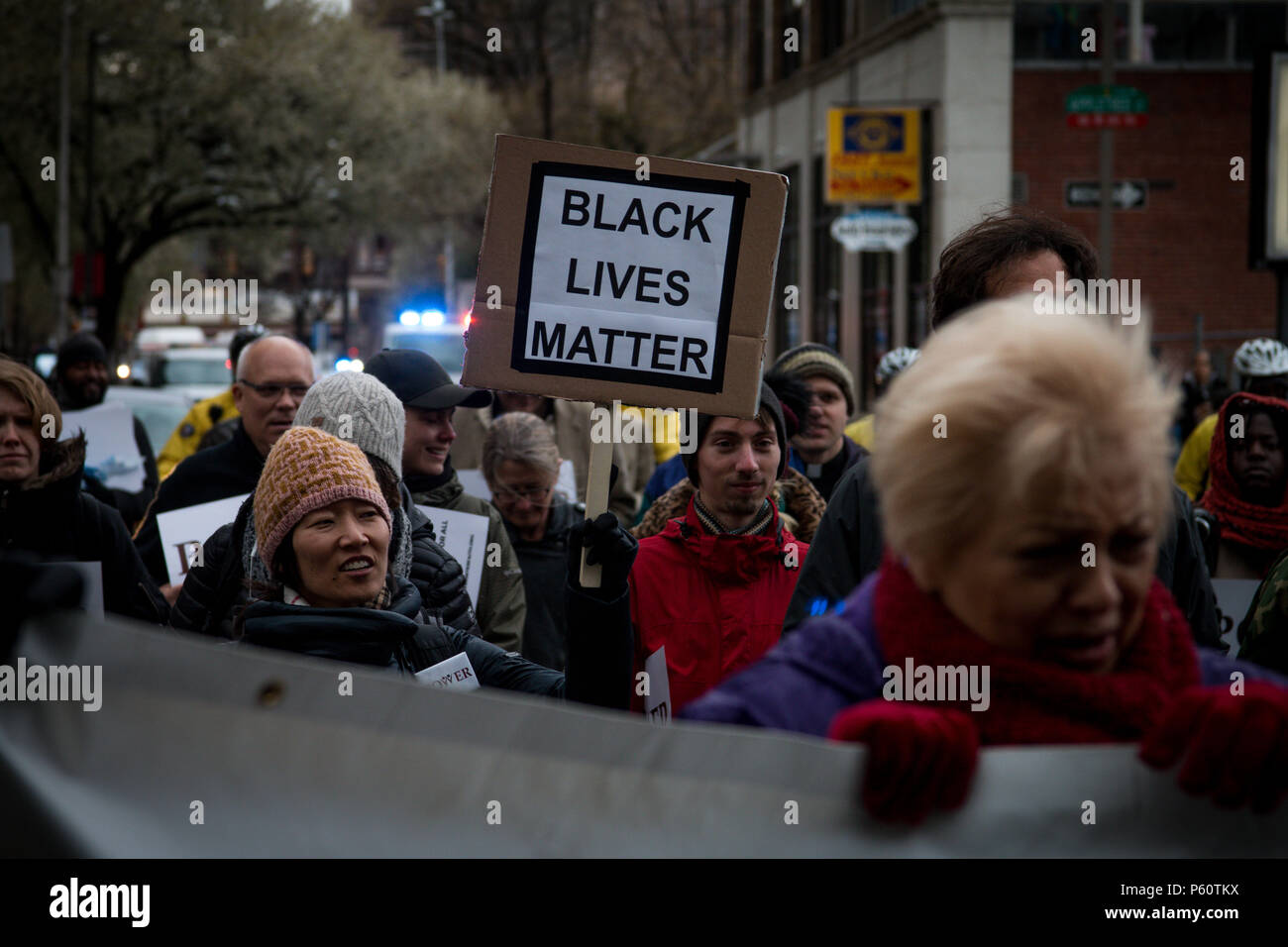 Philadelphia, USA, 19th April, 2018. After the arrest of two black men asking to use the bathroom in a Philadelphia Starbucks, interfaith groups protested the police for their use of excessive force. - Stock Image