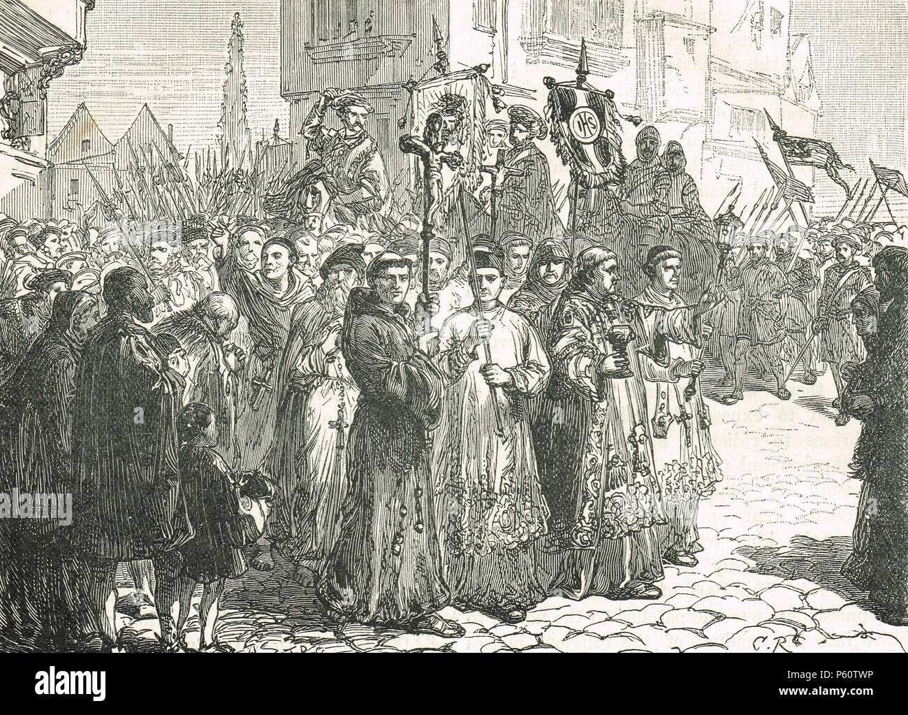 The Pilgrimage of Grace, popular uprising that began in Yorkshire, October 1536 - Stock Image