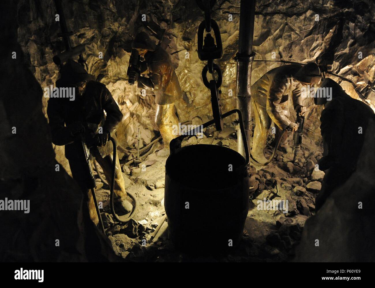 History. Mining. Drilling  with a jackhammer. Diorama. Deutsches Museum (Museum of Science and Technology). Munich. Germany. - Stock Image