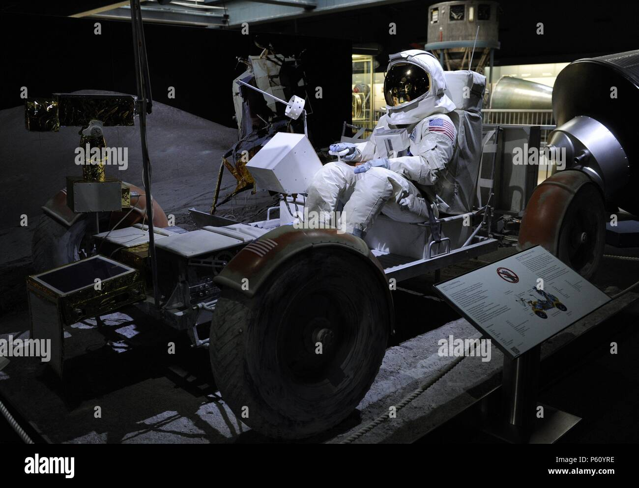 Lunar Roving Vehicle (LRV) or lunar rover was a battery-powered four-wheeled rover used on the Moon in the last three missions of the American Apollo program, during 1971 and 1972. Deutches Museum. Munich. Germany. - Stock Image