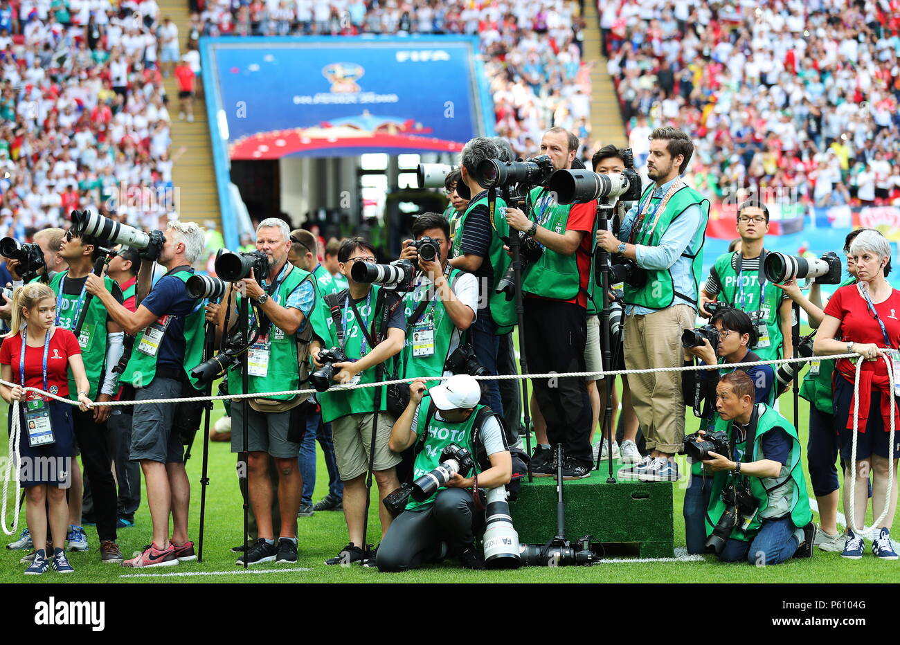 Kazan, Russia. 27th June, 2018.  Photographers at work in a 2018 FIFA World Cup Group F match between South Korea and Germany at Kazan Arena Stadium. Sergei Savostyanov/TASS Credit: ITAR-TASS News Agency/Alamy Live News Stock Photo