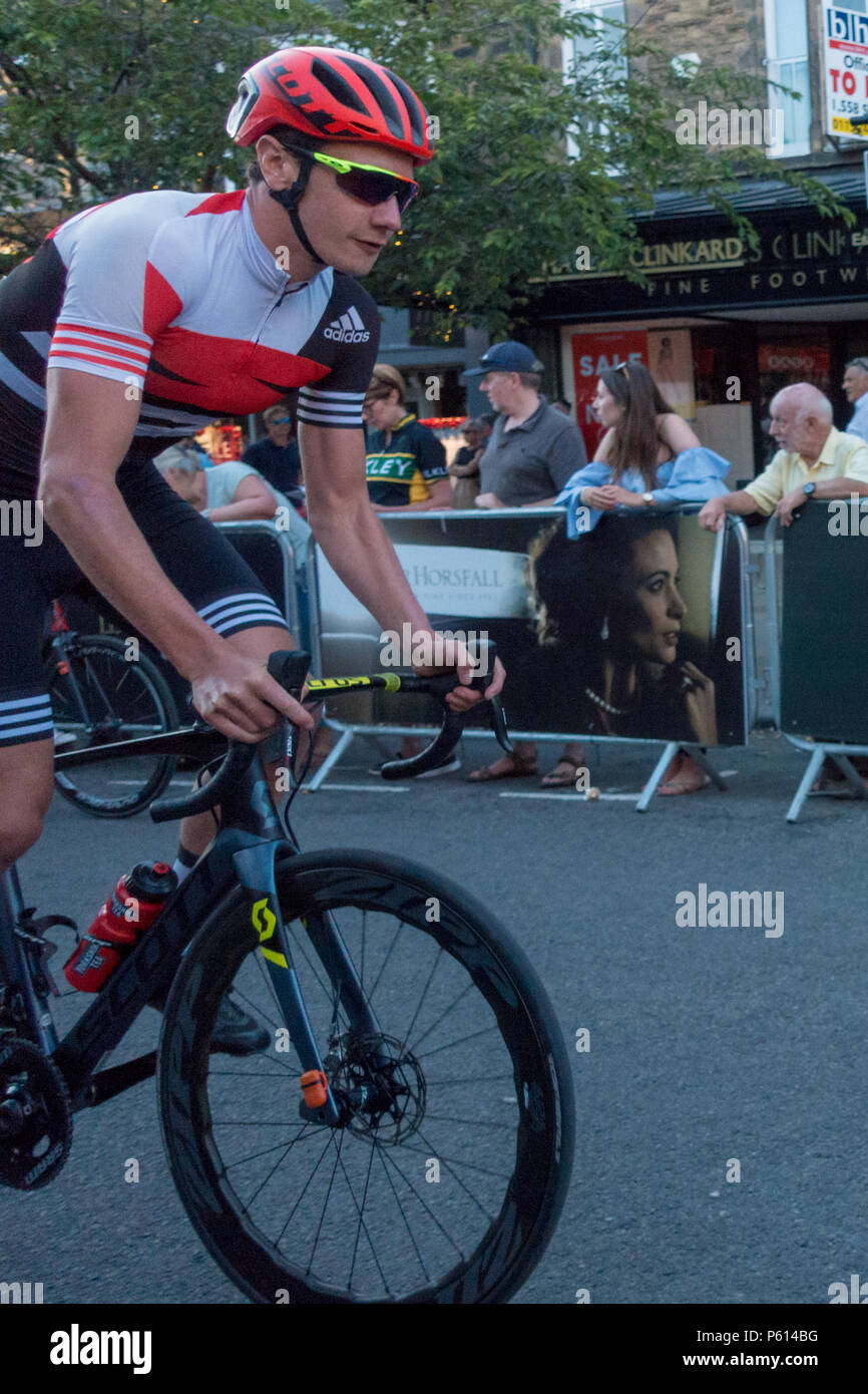 Ilkley, West Yorkshire, UK. 27th June 2018.  Alistair Brownlee on the warm up lap of the Ilkley Cycle Races. Rebecca Cole/Alamy Live News Credit: Rebecca Cole/Alamy Live News - Stock Image