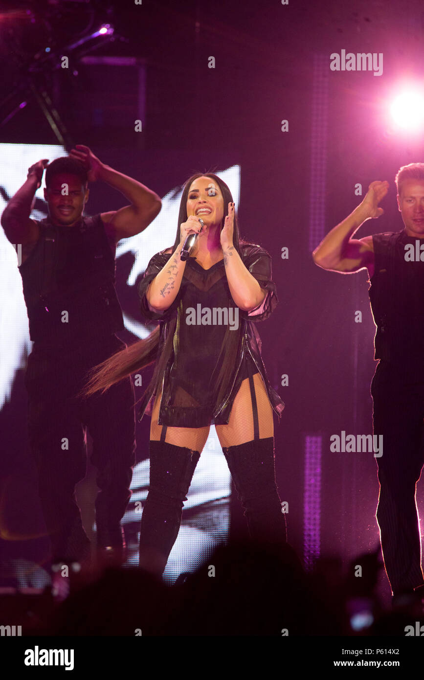Bologna, Italy. 27th Jun, 2018. Demi Lovato performed in Italy 2018 for the first time at Unipol ...
