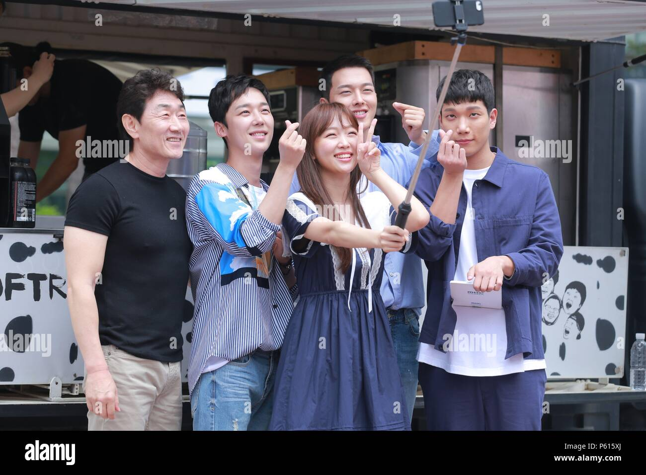 Seoul, Korea. 27th June, 2018. Jang Ki Yong, Jin Ki-joo, Heo Joon-ho, Kim Kyung Nam, Yoon Jong-hoon etc. promoted for their new TV sereies 'Come to hold me' in Seoul, Korea on 27th June, 2018.(China and Korea Rights Out) Credit: TopPhoto/Alamy Live News Stock Photo
