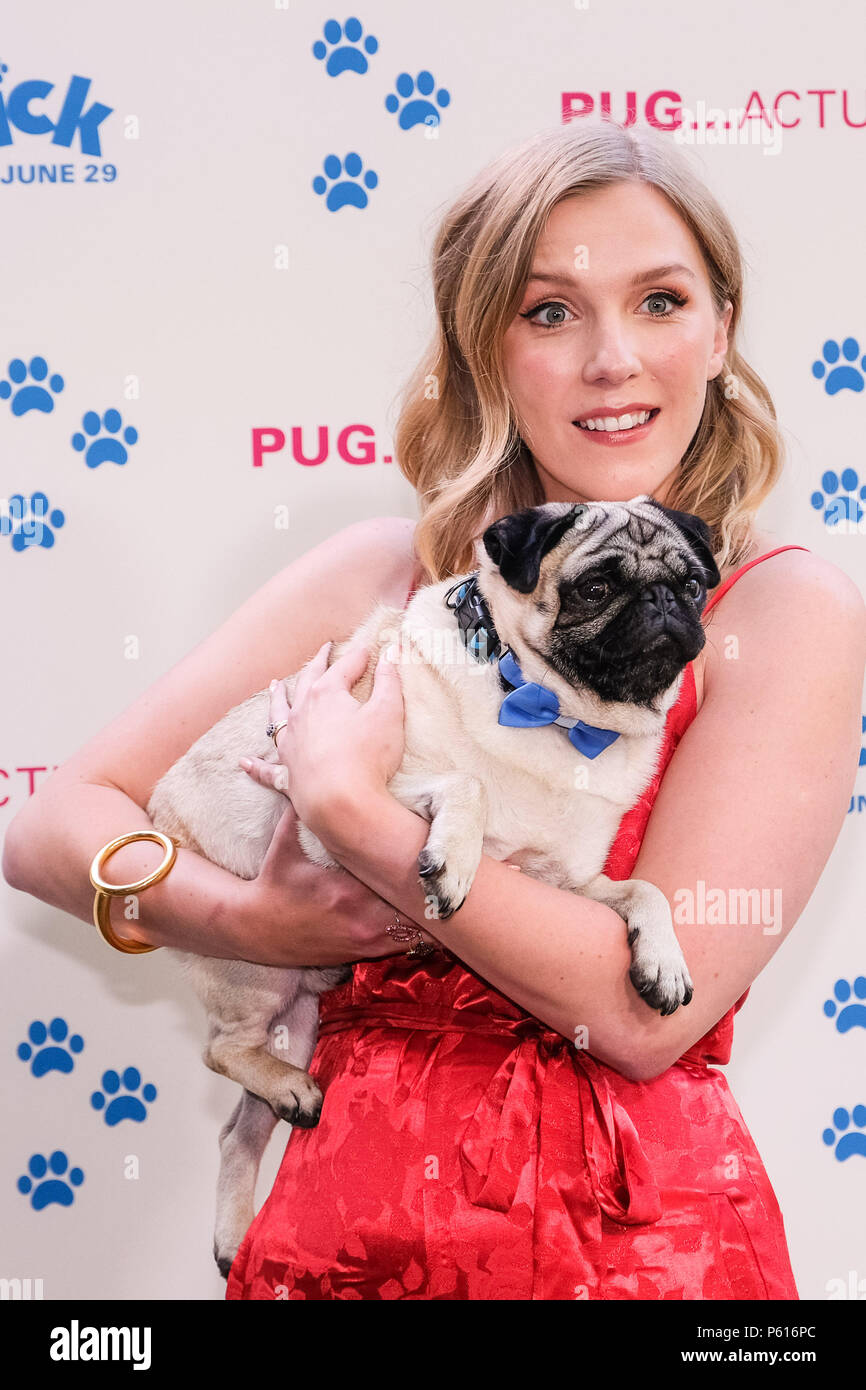 London, UK. 27th Jun, 2018. Beattie Edmondson with Harley the dog (Patrick) at UK Premiere of Patrick on Wednesday 27 June 2018 held at an exclusive private London garden, London. Pictured: Harley the dog, Beattie Edmondson. Credit: Julie Edwards/Alamy Live News - Stock Image