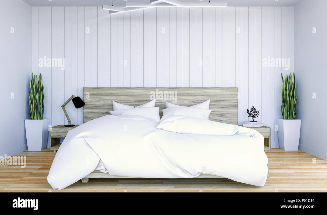 White Modern Contemporary Bedroom Interior With Copy Space On Wall For Mock  Up, 3D Rendering