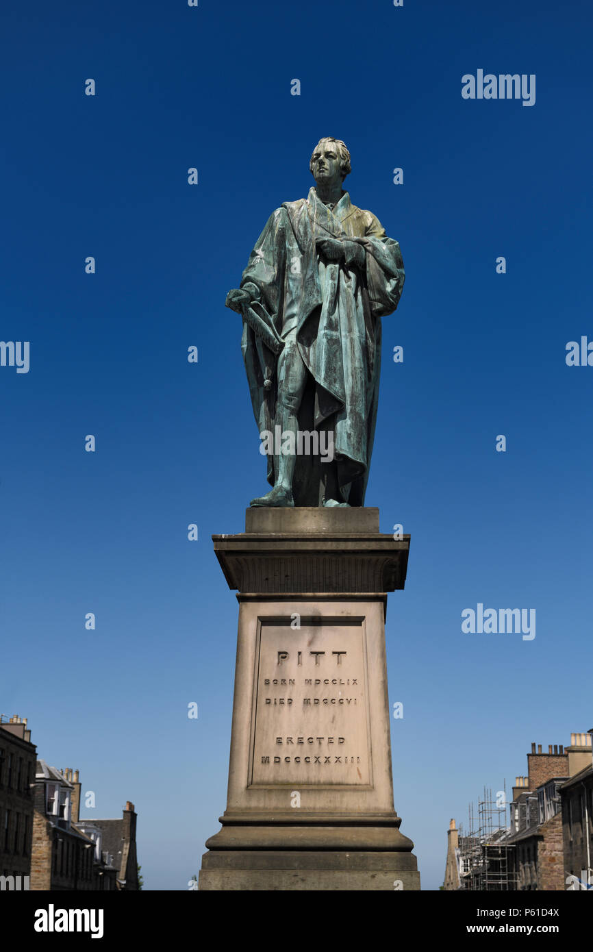 Bronze sculpture of William Pitt the Younger a British Prime Minister on George Street Edinburgh Scotland with blue sky - Stock Image
