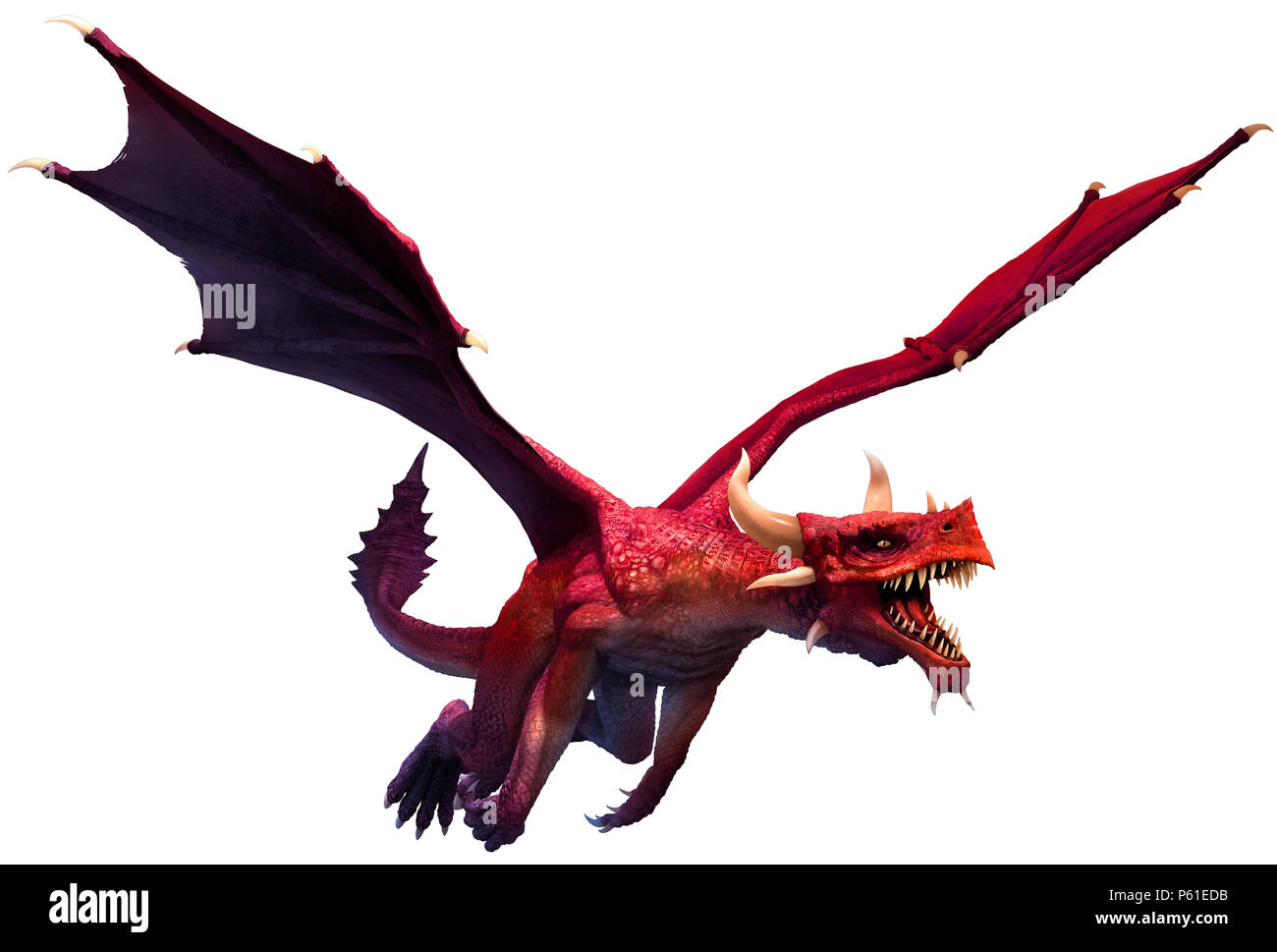 Red dragon 3D illustration - Stock Image