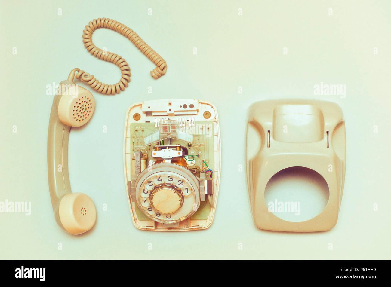 vintage rotary dial telephone taken apart - Stock Image