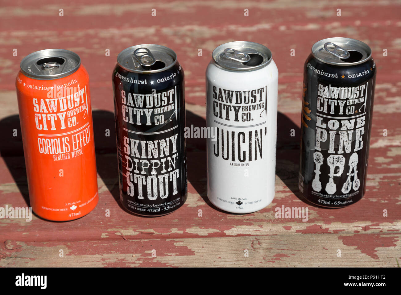 Empty cans of beer brewed by the Sawdust City Brewing Co  in