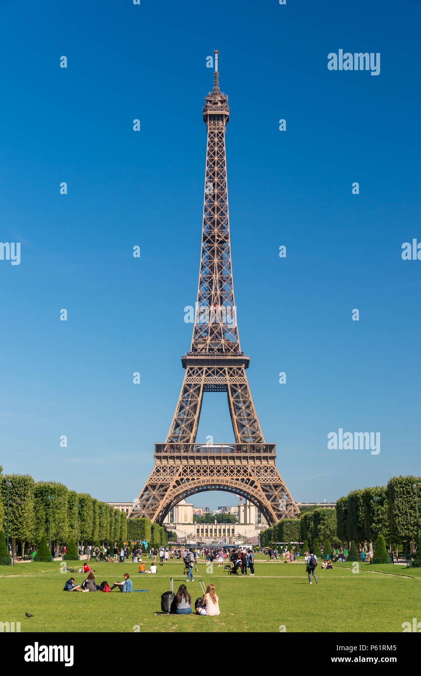 Paris, France - 23 June 2018: Eiffel Tower from the Champ de Mars gardens in summer. - Stock Image