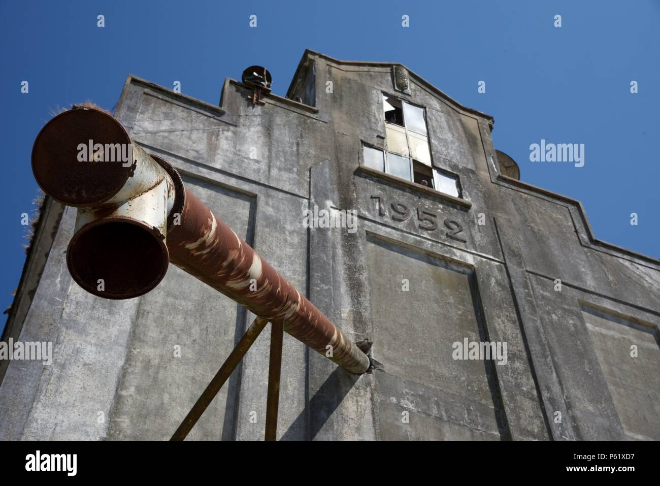 Grain silo: a post world war two co-operative grain collection silo building in northern France - Stock Image