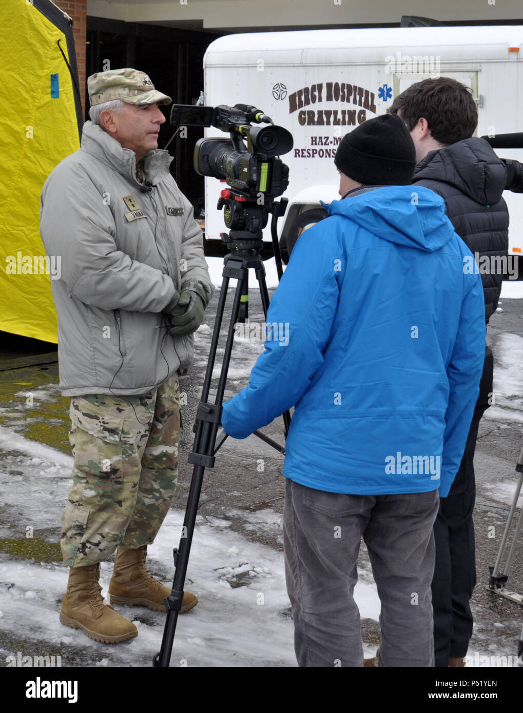 Gregory J Vadnais Adjutant General For The Michigan National Guard Participates In An Interview With Cody Boyer Of Channel 9 And 10 News During Exercise