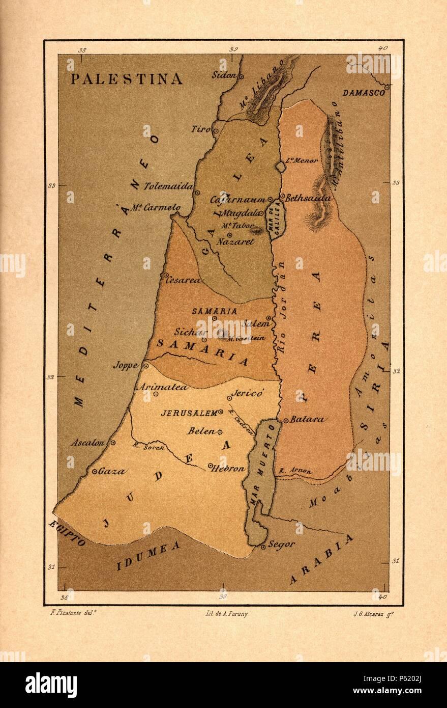 Mapa de Palestina publicado en el libro Historia Universal, de Felipe Picatoste. Madrid, 1890. - Stock Image
