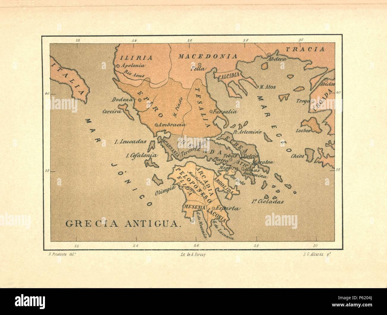 Mapa de Grecia Antigua publicado en el libro Historia Universal, de Felipe Picatoste. Madrid, 1890. - Stock Image