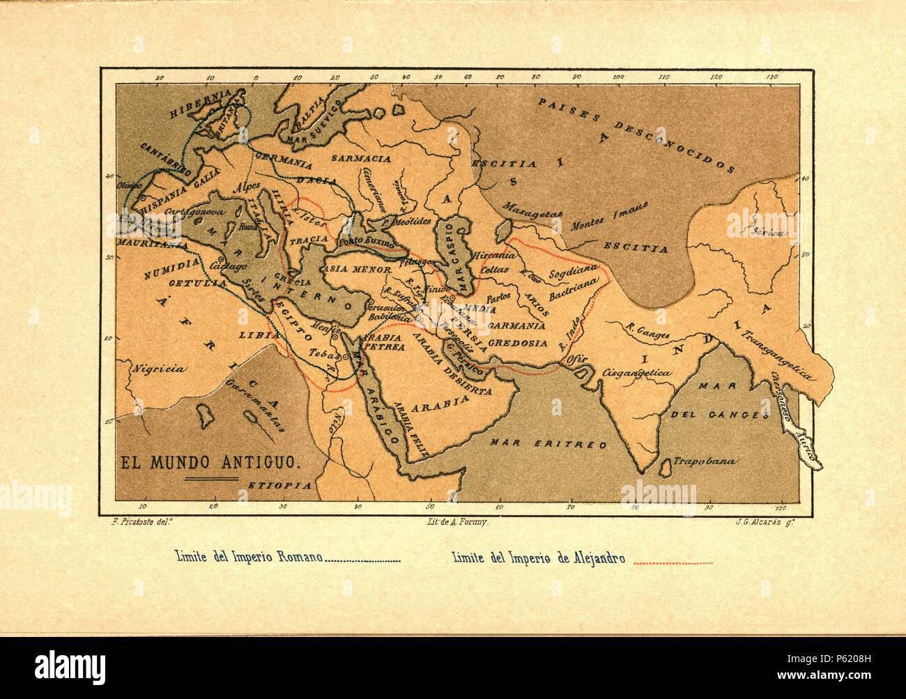 Mapa del Mundo Antiguo publicado en el libro Historia Universal, de Felipe Picatoste. Madrid, 1890. - Stock Image