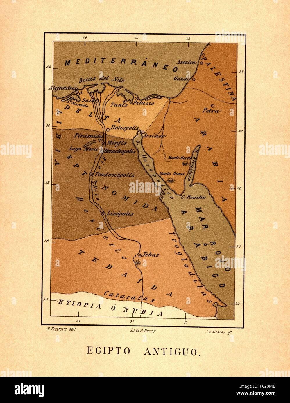 Mapa de Egipto Antiguo publicado en el libro Historia Universal, de Felipe Picatoste. Madrid, 1890. - Stock Image