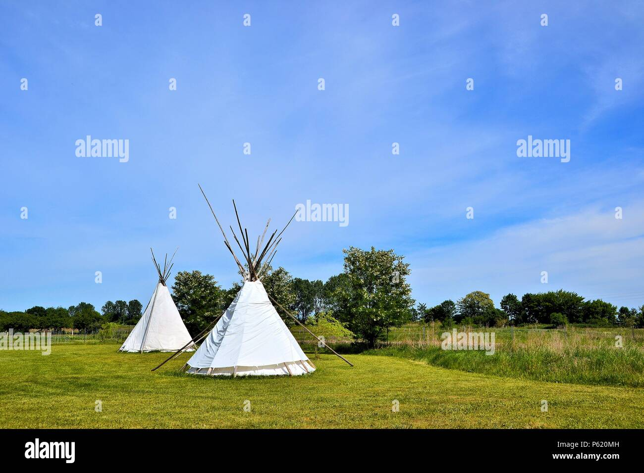 Indian tents on a meadow at a campsite in Bertingen in Germany - Stock Image
