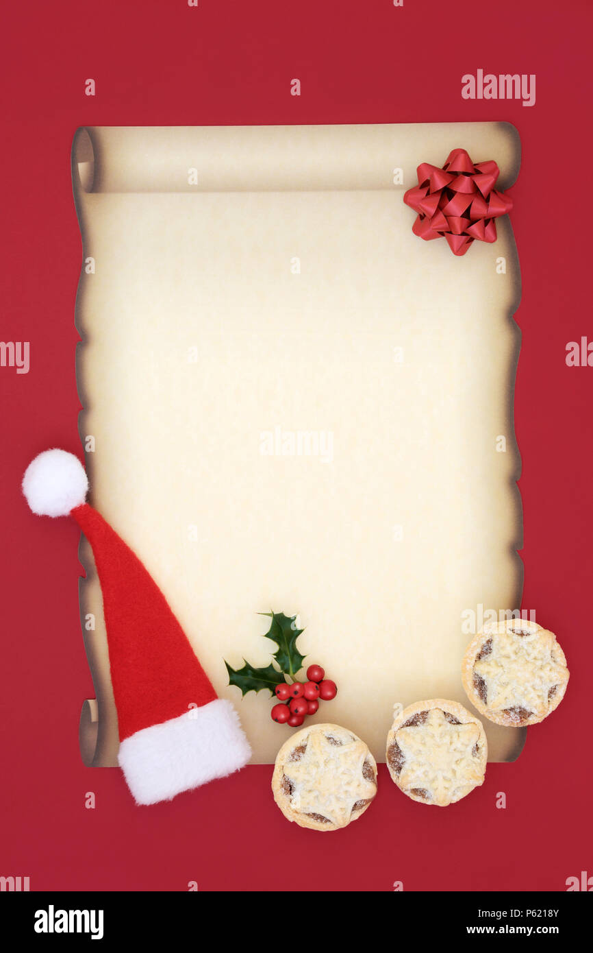 letter to santa claus with blank parchment paper santa hat mince