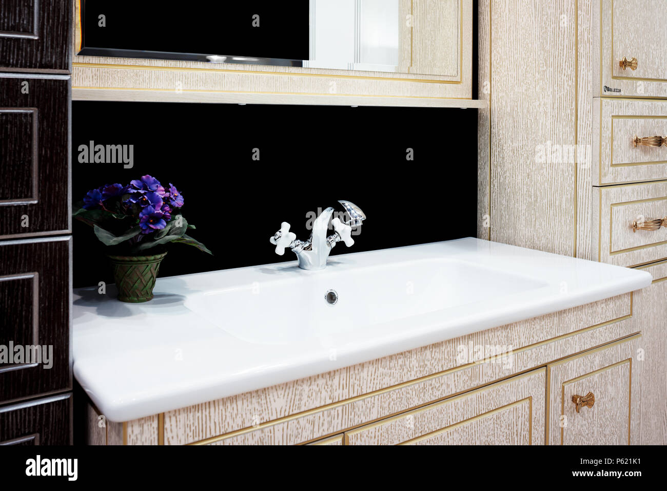 Bathroom interior with sink and retro style faucet Stock Photo ...