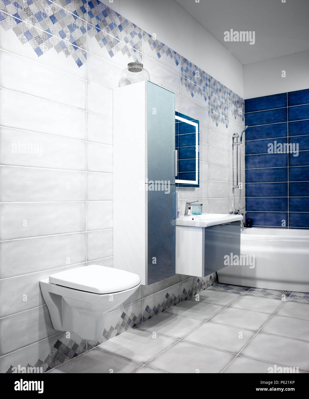 White And Blue Tones Modern Bathroom Interior With Hanging Toilet, Sink,  Bath, Faucet, Mirror, Shower, Furniture And Accessories.