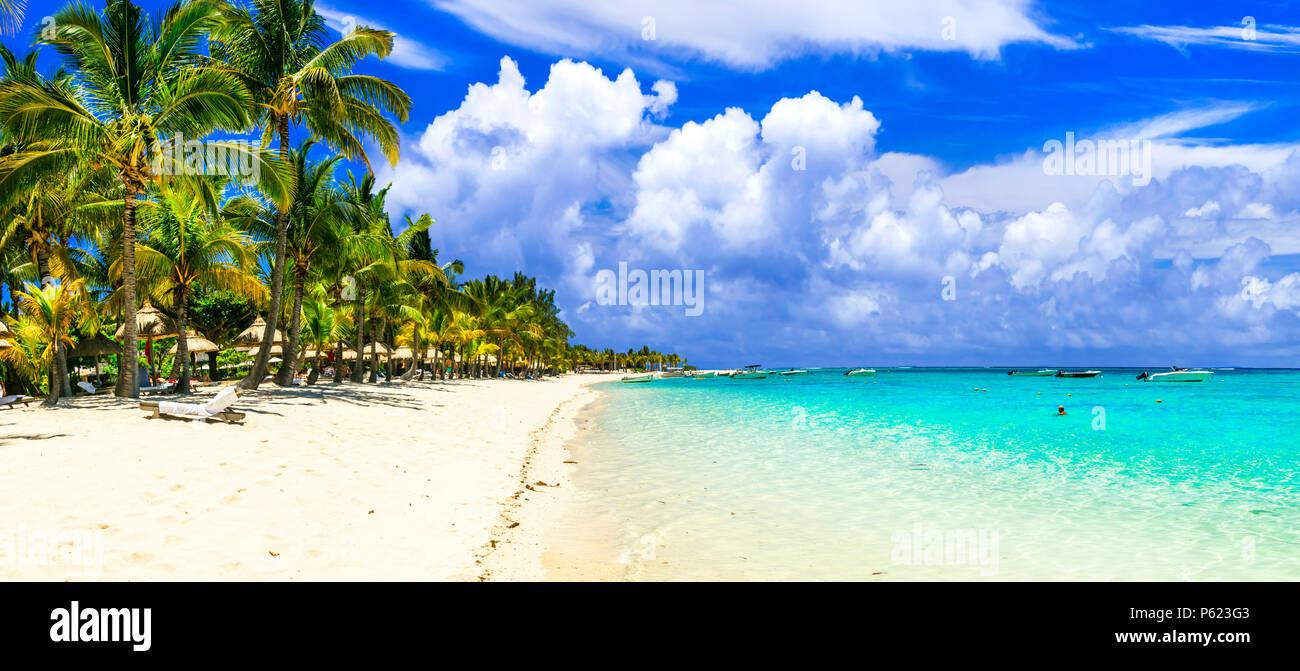 Beautiful beach of Mauritius island. - Stock Image