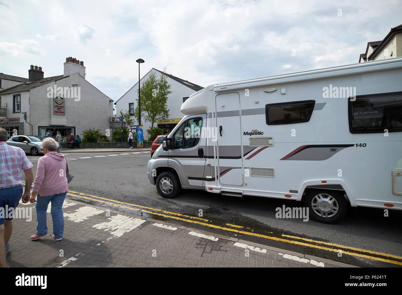 motorhome on mini roundabout in the town of Keswick Lake District Cumbria England UK - Stock Image