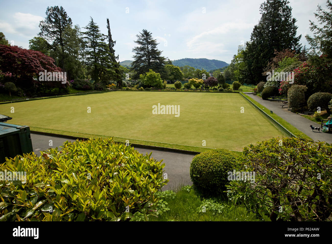lawn bowls bowling green in upper fitz park Keswick Lake District Cumbria England UK - Stock Image