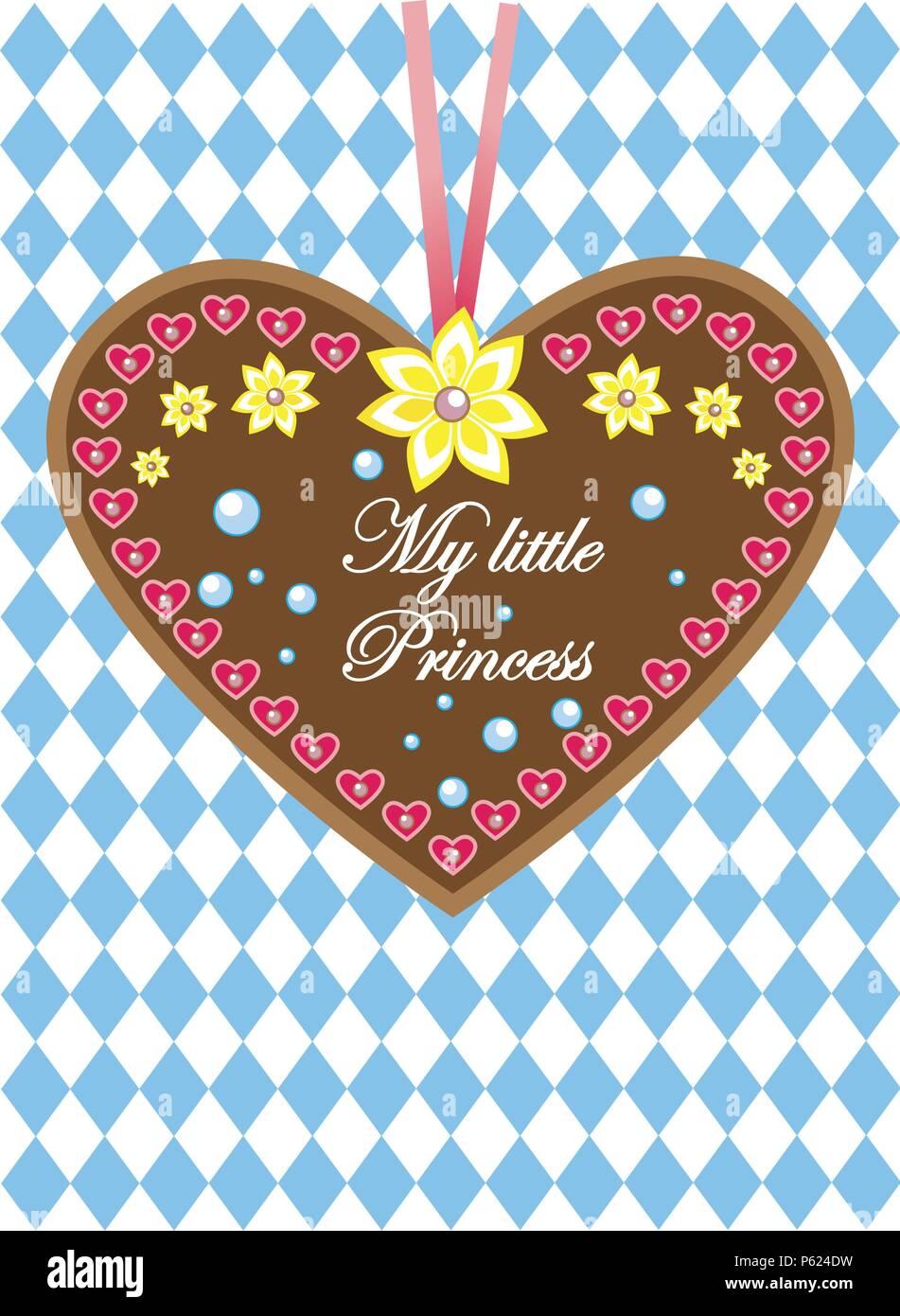 oktoberfest gingerbread heart - greetings / Gruß von der Wiesn! - Stock Image