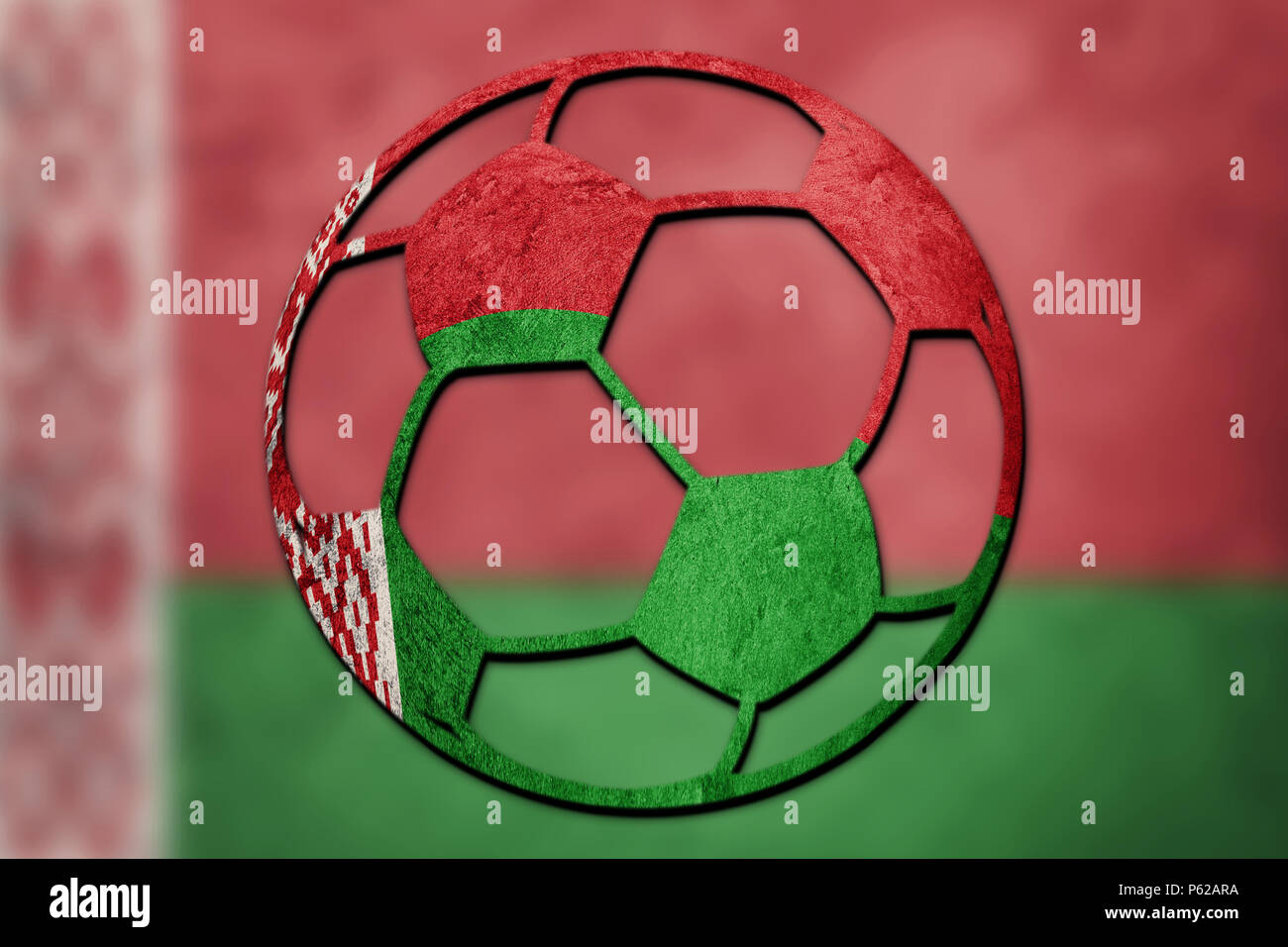 Soccer ball national Belarus flag. Belorussian football ball. Stock Photo