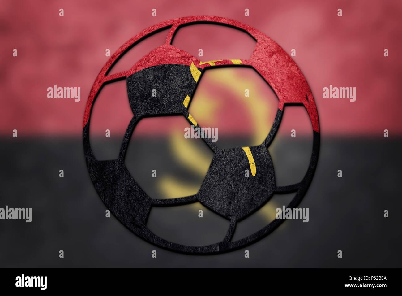 Soccer ball national Angola flag. Angola football ball. - Stock Image