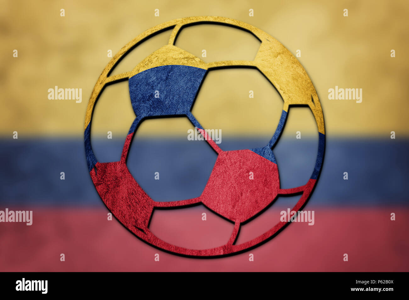 67715d8909a Soccer ball national Colombia flag. Colombian football ball. - Stock Image