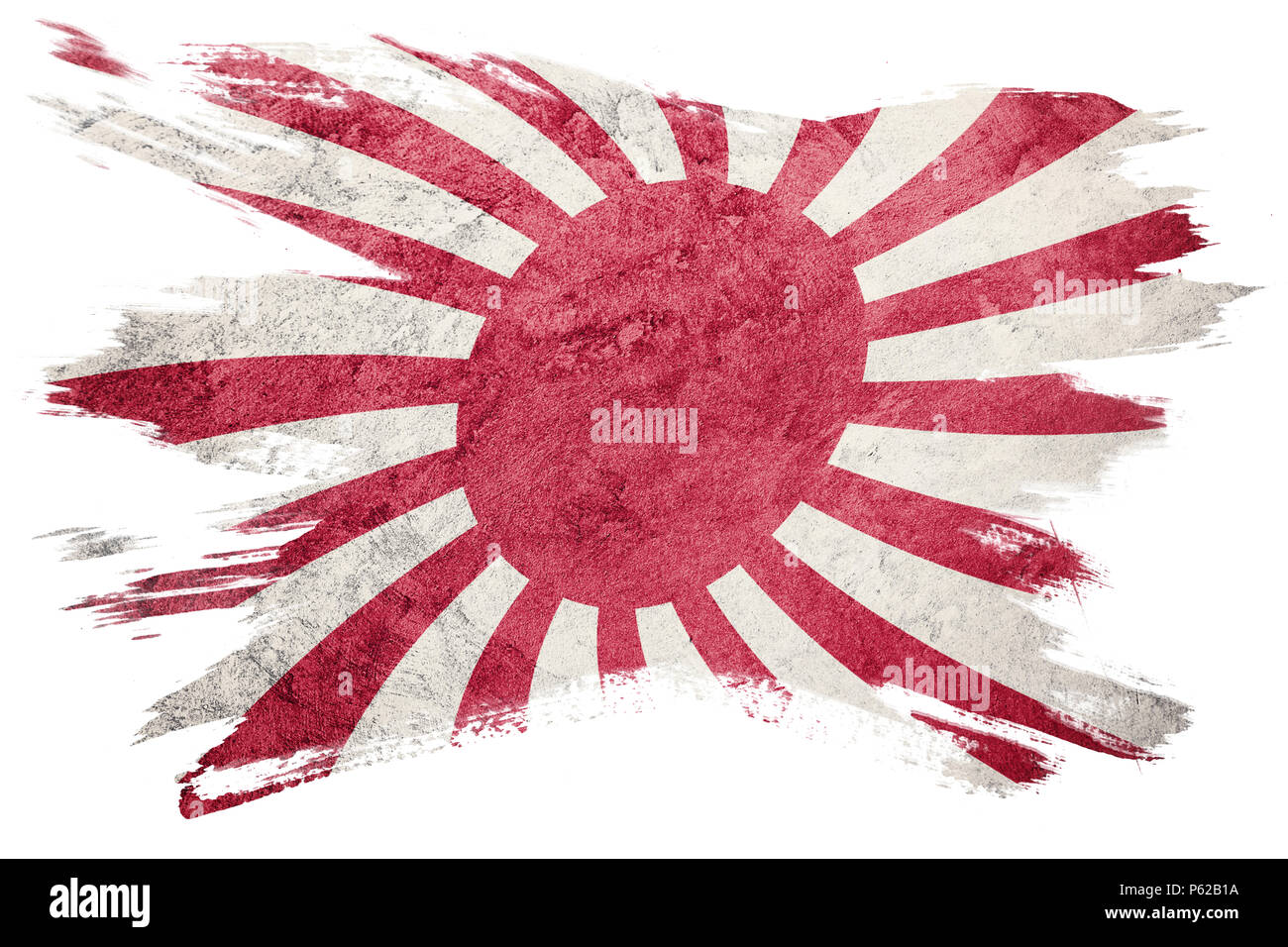 Grunge Rising Sun Japan flag. Japan flag with grunge texture. Brush stroke. - Stock Image