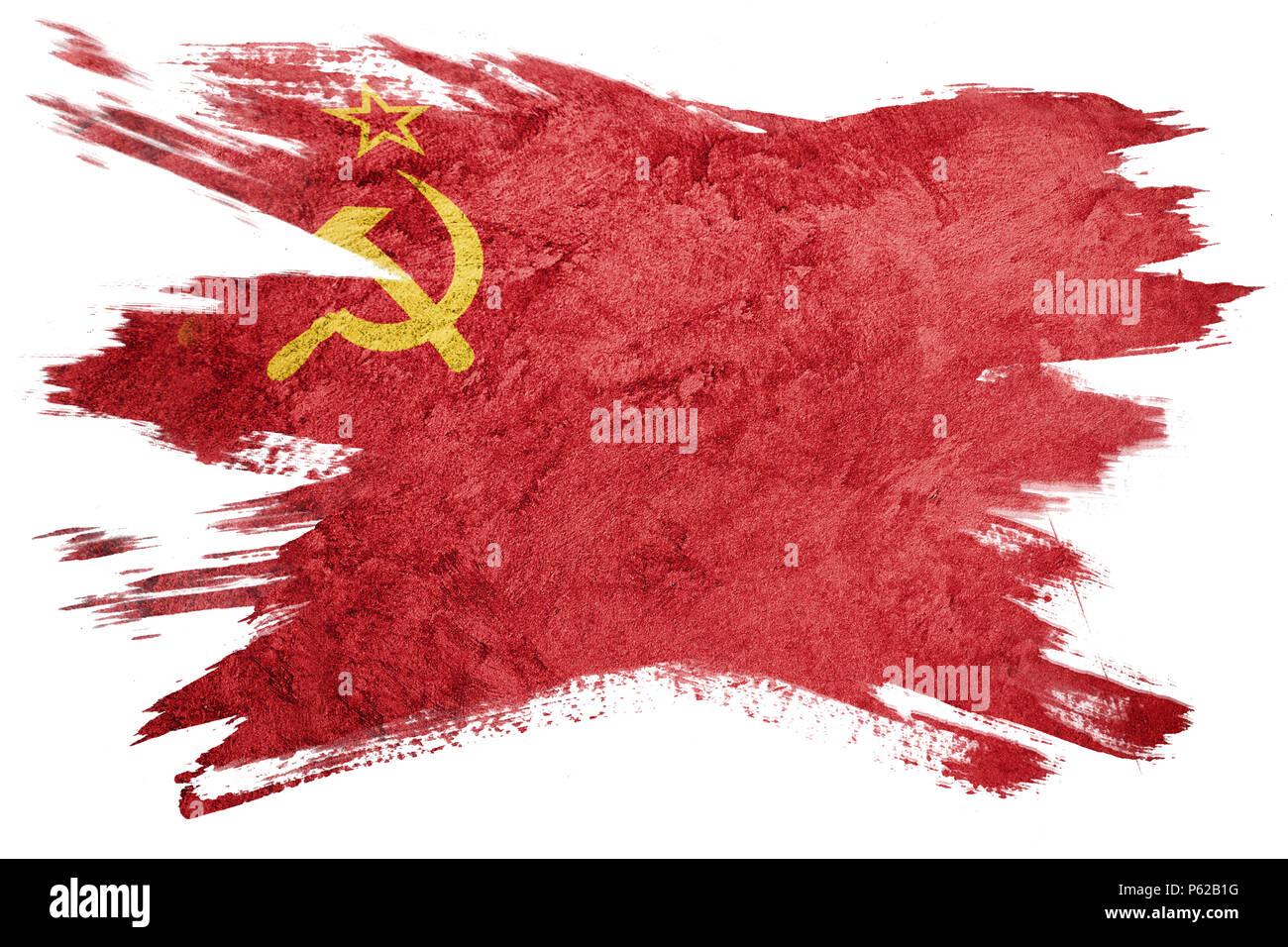 Grunge USSR flag. Soviet Union flag with grunge texture. Brush stroke. - Stock Image