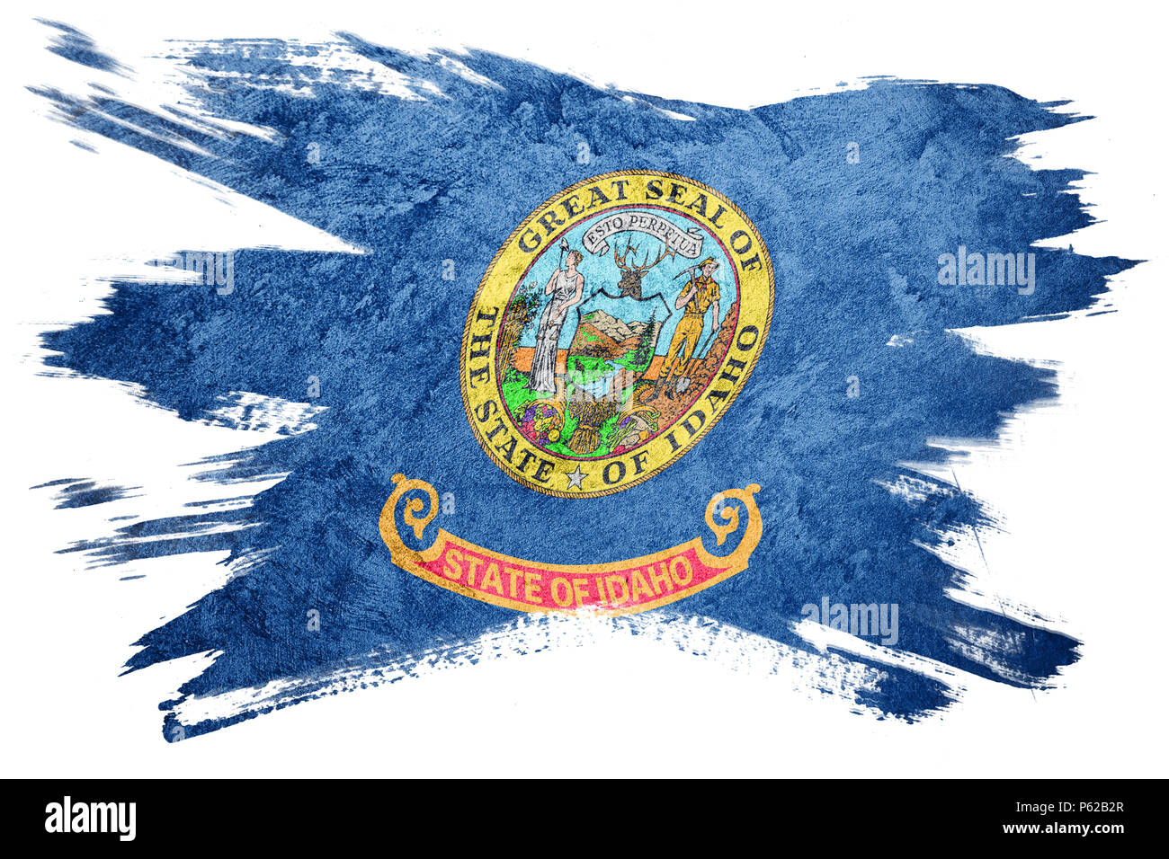 Grunge Idaho state flag. Idaho flag brush stroke. - Stock Image