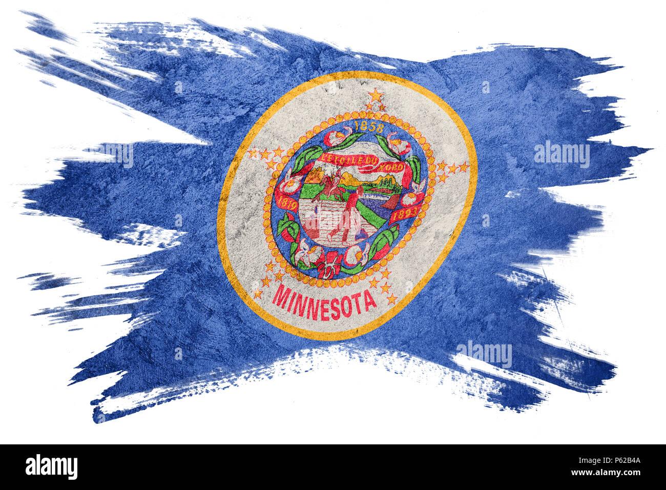 Grunge Minnesota State Flag Minnesota Flag Brush Stroke Stock Photo