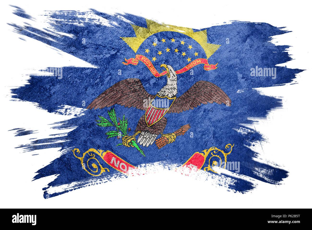 Grunge North Dakota State Flag North Dakota Flag Brush Stroke Stock