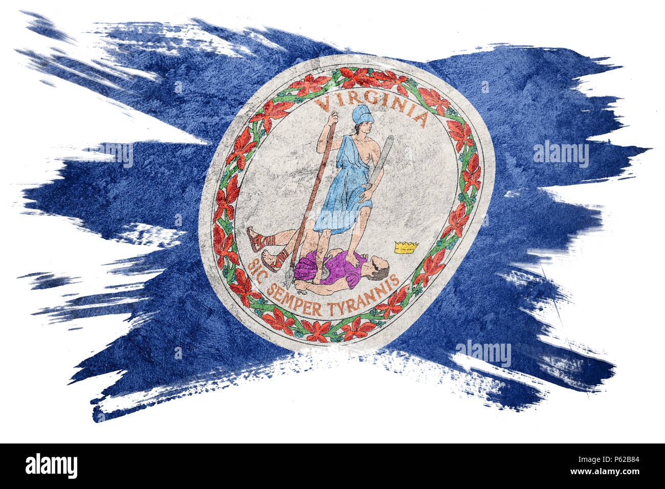 Grunge Virginia State Flag Virginia Flag Brush Stroke Stock Photo