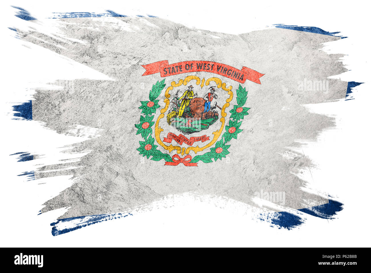 Grunge West Virginia State Flag West Virginia Brush Stroke Stock