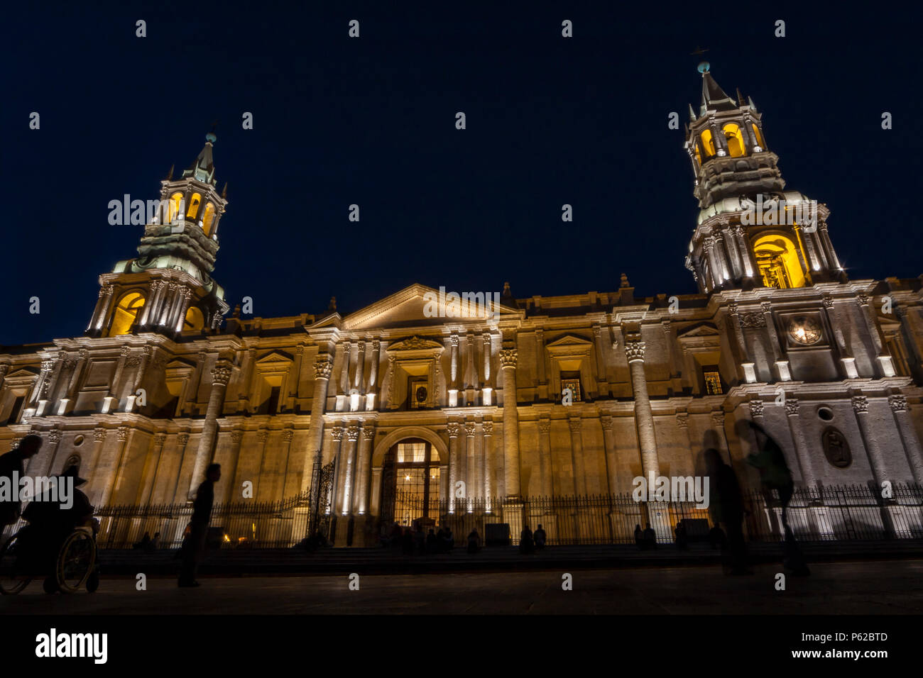 "The Basilica Cathedral of Arequipa is located in the ""Plaza de Armas"" of the city of Arequipa, province of Arequipa, Peru. Stock Photo"