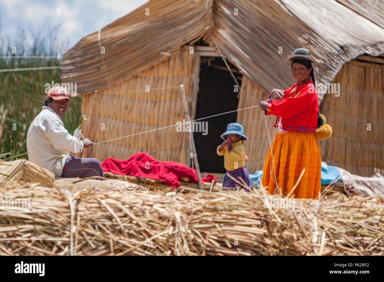 Floating village of Lake Titicaca, Peru - Stock Image