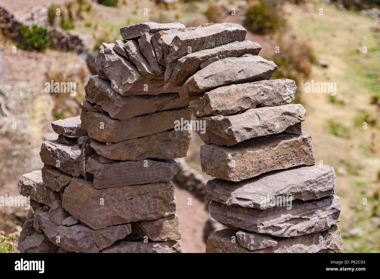 Taquile Island is an island on the Peruvian side of Lake Titicaca 45 km offshore from the city of Puno. - Stock Image