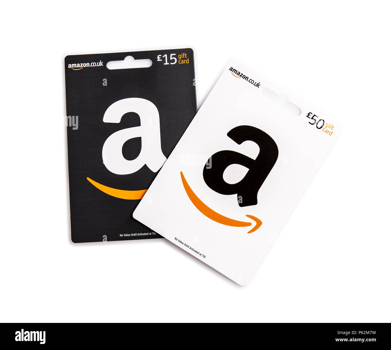 Swindon Uk June 27 2018 Two Amazon Gift Cards On A White