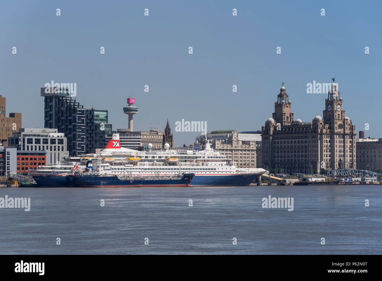 Cruise Liner Black Watch at Liverpool pierhead cruise terminal. - Stock Image